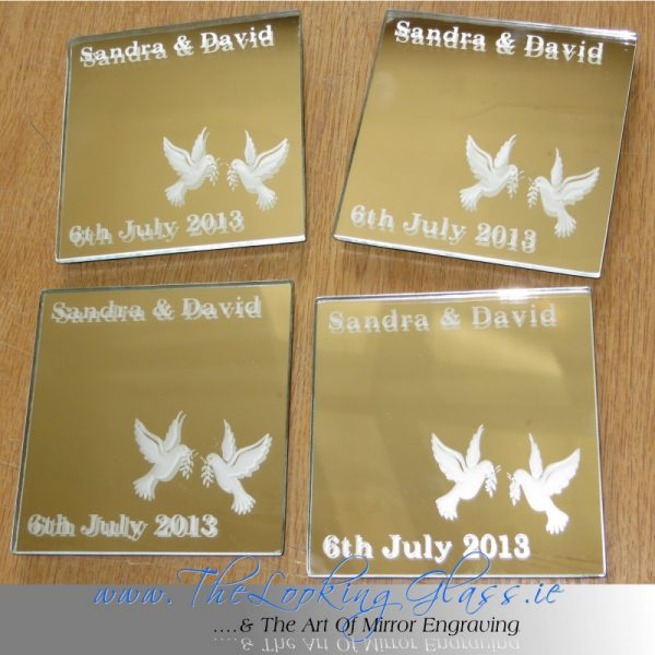 Wedding gift mirror coasters…