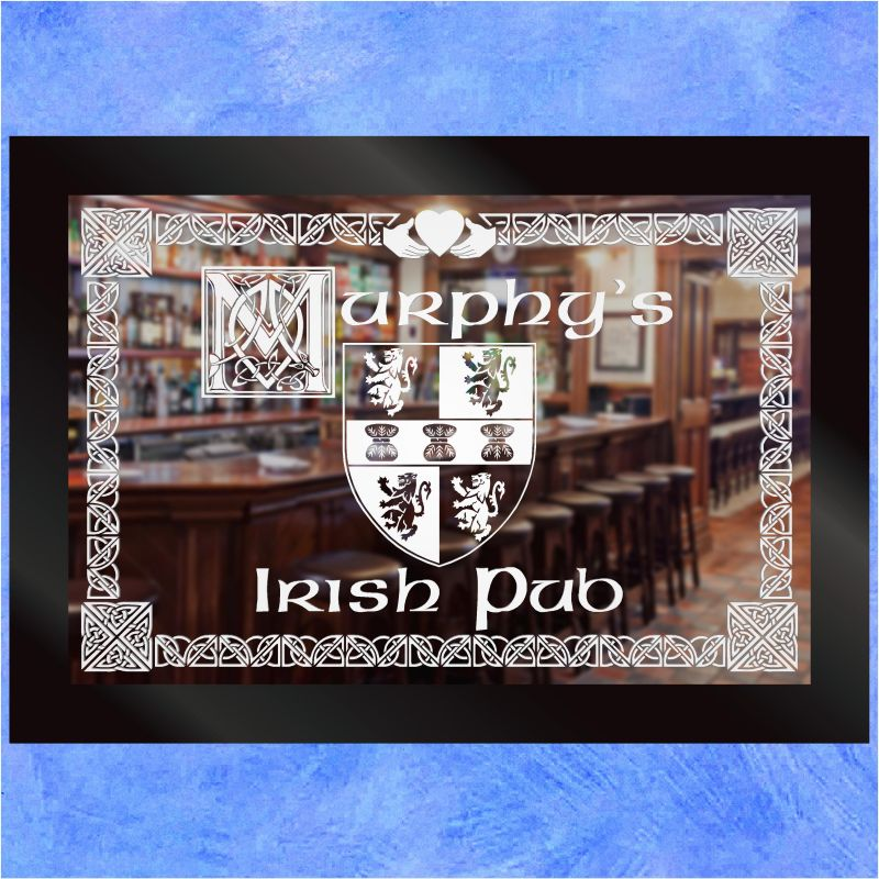 Irish American Bar Home Etched Mirror Gift 3 Looking Glass Mirrors