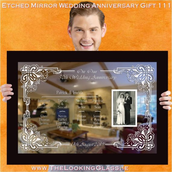 engraved mirror listing all your mum and dad childrens and grandchildrens names
